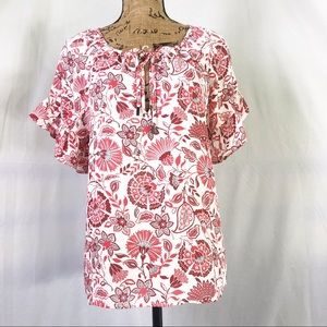 W5 Floral Print Ruffle Sleeve Blouse Red & White M